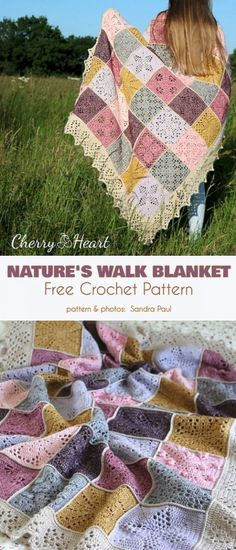 Beautiful Square Blanket Free Crochet Patterns - Crochet and Knitting Ideas n Patterns - Nature& Walk Blanket Free Crochet Pattern The Nature's Walk blanket is a beautiful example - Crochet Afghans, Crochet Motifs, Afghan Crochet Patterns, Crochet Stitches, Knitting Patterns, Knit Crochet, Crochet Blankets, Knitted Squares Pattern, Crochet Owls