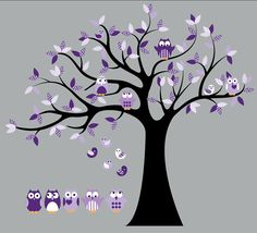 Kids Tree Purple with 4 owls 7 birds and set of 5 FREE owls nursery vinyl wall decal