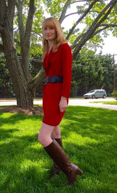 Dots N Bows: The Sun Will Come Out #Blogger #Blogging #FBlogger #RedDress #BrownBoots #SweaterDress #SpringTime #SpringOutfit