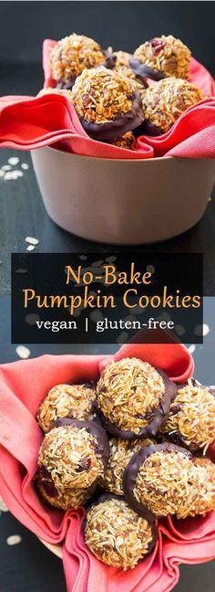 No-Bake Vegan Pumpkin Cookies with Pecans & Coconut #vegan #glutenfree | Vegetarian Gastronomy | www.VegetarianGastronomy.com