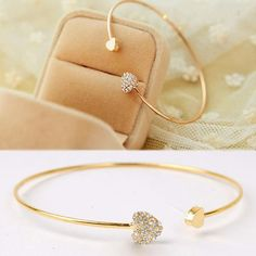 Gold Plated & Heart Shaped - Crystal Bracelets