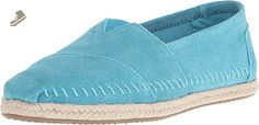 Toms Classics Turquoise Suede Rope Sole 10008031 Womens 5 - Toms flats for women (*Amazon Partner-Link)