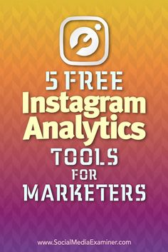 5 Free Instagram Analytics Tools for Marketers by Jill Holtz on Social Media Examiner. (scheduled via http://www.tailwindapp.com?utm_source=pinterest&utm_medium=twpin&utm_content=post188497587&utm_campaign=scheduler_attribution)