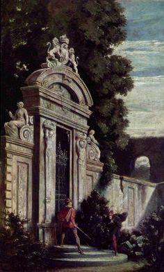Moritz von Schwind, Nocturnal Duel at the Garden Gate A4 Poster, Poster Prints, Moritz Von Schwind, Chivalry, Classical Art, Vintage Artwork, Surreal Art, Animal Memes, Surrealism