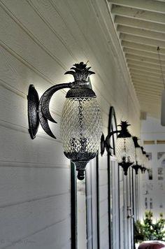 Just love the pineapple verandah lights #lighting #hamptonsstyle