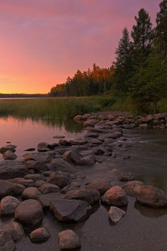 Mississippi Headwaters at sunrise in Itasca State Park near Park Rapids, Minnesota.