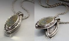 Here is a swing hing locket I made with bezel set pyrite drusy cab, in fine silver metal clay - Lisa Barth