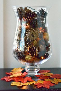 Make this simple DIY Pine Cone Vase Filler with Fairy Lights in just a few minutes to add a little glowing Fall decor to your table.