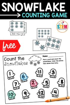 While numbers and counting seem to go hand in hand, rote counting on its own is very different from number identification, one to one correspondence, and subitizing. This snowflake counting game works on all 3 of those important skills with a fun and seasonal twist. It is a great math center or activity for preschoolers or kindergarteners to play this winter!