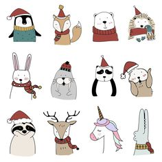 holiday illustration Hand drawn animals enjoying a - holiday Christmas Doodles, Christmas Cartoons, Christmas Drawing, Nordic Christmas, Christmas Art, Christmas Holidays, Christmas Stickers, Christmas Ideas, Cute Drawings
