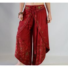 Split Pants Rayon Red Medieval Pirate Renaissance Festival Gypsy Harem... ($40) ❤ liked on Polyvore featuring brown, pants and women's clothing
