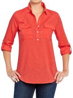 Old Navy | Women's Buttoned Tab-Sleeve Linen-Blend Tunics