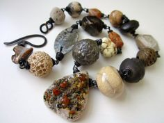 Ruins & Mystery - primitive chunky assemblage rusty blush orange garnet drusy focal, ivory art bead, trade bead, stone, and copper necklace by LoveRoot, $142.00