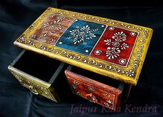 Indian Wooden Antic Unique Look Painted Box Traditional Rack Home Decor Art Gift | eBay