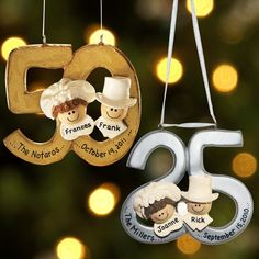 50th Wedding Anniversary Table Ideas | Personalized Milestone Christmas Ornaments 2012 at Personal Creations