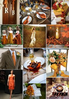 Rich auburn, orange and yellow colors were used for this fall wedding board inspiration - Liked this mostly for the centerpiece idea, or at least for extra lighting.  Use hurricane glass with a candle, surround with flowers, mini pumpkins, etc.