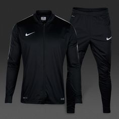 View and buy the Nike Academy 16 Knit Tracksuit 2 - Black/Black/White/White Nike Academy at Pro:Direct SOCCER. Football Gear, Team Wear, White Nikes, Adidas Jacket, Black And White, Knitting, Jackets, Stuff To Buy, Tech