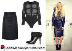 Buy Ellie Goulding's Topshop Unique London Fashion Week Show Embroidered Bodysuit, Quilted Leather Skirt, and Cuffed Mules, here!