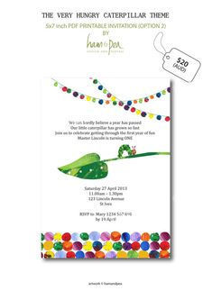 The Very Hungry Caterpillar Inspired Printable PDF Invitation (Option 2) on Etsy, $16.50