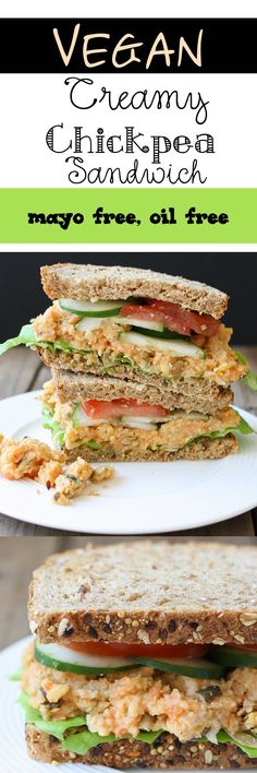 Lowfat Creamy Mashed Chickpea and Veggie Sandwich | healthy lunch recipe.