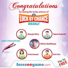 "Congratulations to all of our Lucky Winners of ""Luck By Chance Weekly 32"" .!"