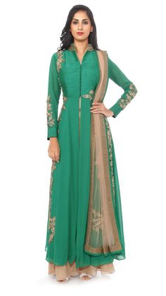 ANEESH AGARWAAL Green Embroidered Jacket with Palazzo Pants
