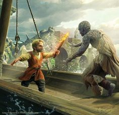 Tyrion vs the stone man, art by Joshua Cairos for FFG