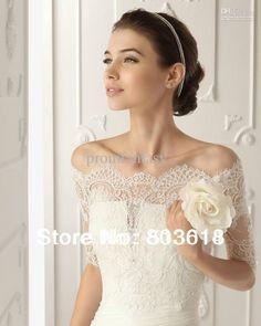 2013 New Off-Shoulder Romantic Short Sleeve White Lace Bolero Wedding Jackets Bridal Wraps $26.99