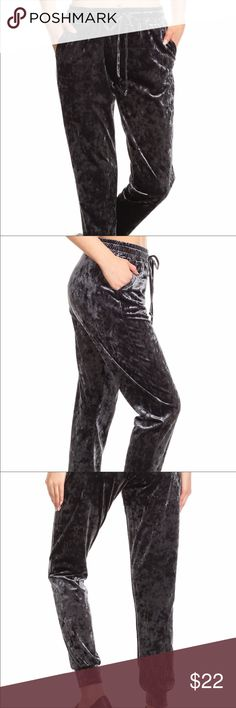 Crushed Velvet Jogger Pants😍 Darling Crushed Velvet Jogger Pants;  RELAXED FIT WITH 2 POCKETS AND DRAWSTRING WAIST. Available in S,M,L,XL  Color: Charcoal 92%polyester 8%Spandex Pants Track Pants & Joggers