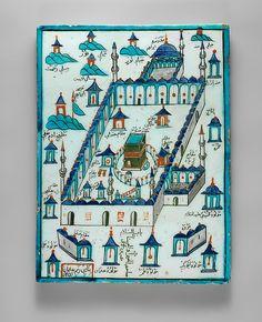 Ka'ba Tile - Artist: Osman Ibn Mehmed (Turkish, active first half century) Patron: `Abduh Mehmed - ca. polychrome painted under transparent glaze Islamic World, Islamic Art, Pilgrimage To Mecca, Antique Tiles, Virtual Museum, Iron Work, Illuminated Manuscript, Art Object, Metropolitan Museum