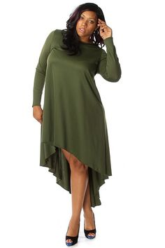 Plus Size Long Sleeve High Low Maxi Dress