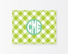 Personalized Notecard Set - Gingham Note Cards - Apple
