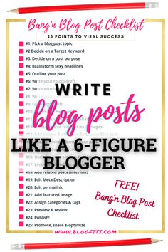 Do you dread writing blog posts? Is your blog writing process a disorganized mess? Stop the struggle with my free bang'n blog post checklist! In just 25 easy to follow points you can have a beautifully written, SEO ready blog post! Plus, this article is JAM PACKED with blog writing tips, blogging tips, and examples to inspire your inner author. Get it today!                                #blogfiti | blog writing tips | writing blog tips | blogging tips | blogging for beginners Blog Writing Tips, Writing Process, Blog Tips, Work From Home Tips, Blog Planner, Blogging For Beginners, Make Money Blogging, How To Start A Blog, Inspire