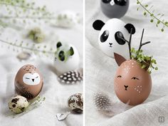 Paint Easter Eggs - Animal Easter Eggs - Decoration for Easter - Wild Egg Heads - Deer Panda Owl Raccoon Easter Toys, Easter Crafts For Kids, Crafts To Do, Grinch Ornaments, Easter Egg Designs, Diy Ostern, Easter Holidays, Egg Decorating, Spring Crafts