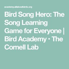 Bird Song Hero: The Song Learning Game for Everyone | Bird Academy • The Cornell Lab
