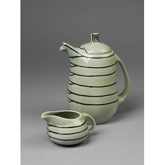 Earthenware coffee pot and creamer, designed by Susie Cooper, made by Wood & Sons Ltd for Susie Cooper Pottery ca.1933 England