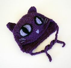 Crochet Hat Purple Cat with Lavender Eyes Child by AllKindsofArt, $24.00