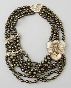 Neo Boho Manmade Pearl Floral Necklace by Alexis Bittar