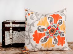 SALE Orange Floral Print Pillow Cover Handmade by LilyPillow