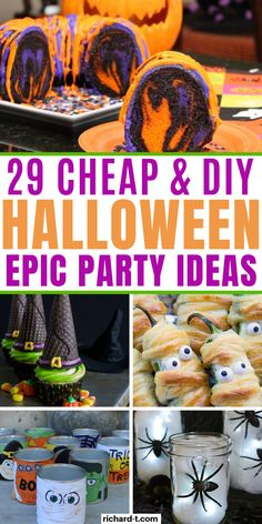 29 Cheap & easy DIY Halloween party ideas that'll scare your guests! These Halloween party ideas are simple, cheap and look really amazing! Halloween Games For Kids, Cheap Halloween, Halloween Food For Party, Diy Halloween Decorations, Holidays Halloween, Halloween Treats, Halloween Things To Do, Halloween Poems, Halloween Designs