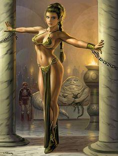 Slave Leia, Lando Calrissian Jabba the Hutt - Star Wars - Alan Gutierrez Leia Star Wars, Star Wars Mädchen, Star Wars Girls, Starwars, Art Manga, Anime Manga, Heroine Marvel, Pinup, Drawn Art