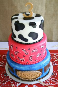 Triple decker Cowboy Birthday Party cake!  See more party ideas at CatchMyParty.com!