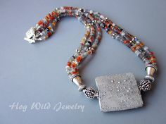 Multi Strand Gray Raku Bead Necklace