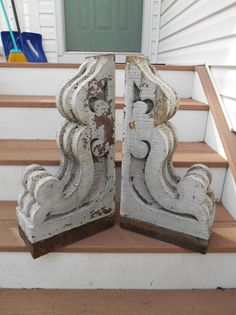 """Large Pair Antique Architectural Wood Corbels Victorian Salvage Gingerbread 22"""""""