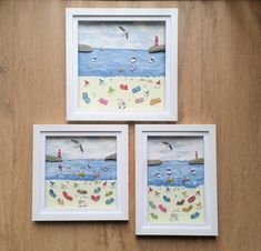 Mixed media Cornish summer beach scenes now come in at least three different sizes. #coastaldecor #mixedmedia #funnyart #humorousart #cornwall #cornishgifts #seaglass #seapottery Coastal Wall Decor, Beach House Decor, Cornish Beaches, Glass Butterfly, Sea Glass Art, Beach Scenes, Etsy Uk, Funny Art, Box Frames