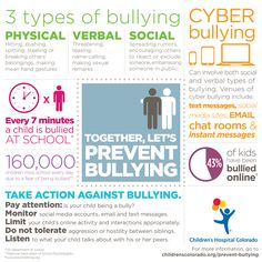 Together, let's prevent bullying. Tips for how to take action against bullying. Visit childrenscolorado.org/prevent-bullying for more information.