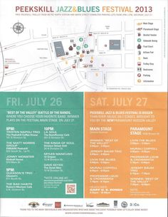 Your map and schedule for this weekend's (7/26 & 7/27) Jazz and Blues Festival in Peekakill!