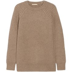 Ribbed cashmere sweater (16 565 UAH) ❤ liked on Polyvore featuring tops, sweaters, jumper, michael kors, cashmere sweaters, cashmere tops, brown sweater and michael kors tops