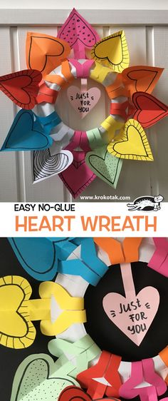 Easy no-glue heart wreath