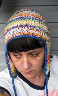 Rainbow multi earflap beanie skullcap by luvbuzz on Etsy  dear god smile.